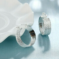 Diamond Pattern Hoop Earrings 925 Sterling Silver NEW