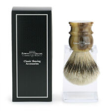 Edwin Jagger Imitation Horn Large Silver Tip Shaving Brushes + Stand (3EJ462LDS)