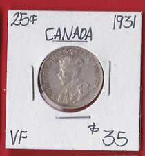 1931 25 Cent Canada Silver Twenty Five Cents Quarter Coin 6521   VF