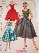 1950'S SIMPLICITY #4766 DRESS PATTERN-MISSES SZ 14-SIMPLE-CAN BE JUMPER-GORED SK