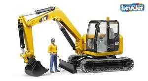 Bruder CAT Mini Excavator With Worker 02466 Boys Girls Childrens Toys