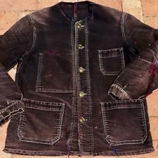 1920s Purple Cotton Moleskine Cotton French Workwear Faded Distressed Chore Coat
