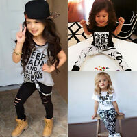 2PCS Kids Baby Toddler Boys Girls Outfit Clothes T Shirt Tops+Long Pants Set New