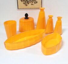 Ensemble de salle de bain flacons Art Déco jaune