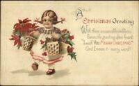 Christmas - Cute Little Girl Pigtails Poinsettia & Holly Postcard