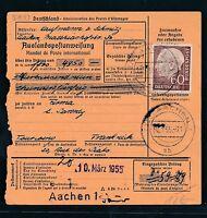 88503) Auslands - Postanweisung Heuss EF 60PF ab Aachen 1 n.Frankreich
