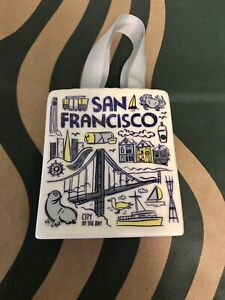 Starbucks Ceramic San Francisco Been There Tote Bag Gift Card Holder