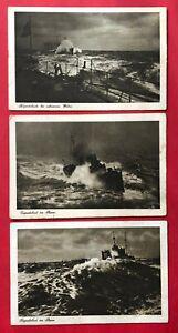 3 x AK Dt. Kriegsmarine um 1915 Torpedoboot im Sturm   ( 90102