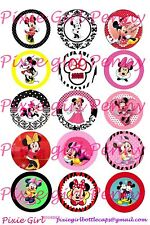 Mickey Mouse Fancy border polka dot 15 precut  Bottle Cap Images/cupcake toppers
