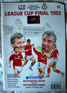Manchester United v Nottingham Forest League Cup Final Programme. 1992