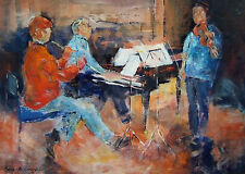 """ORIGINAL SERA KNIGHT S.W.A """"Trio In Rehearsal"""" Musicians Music Concert PAINTING"""