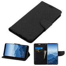 HUAWEI Mate 10 Pro Leather Flip Wallet Case Cover Pouch Card Folio Magnet BLACK
