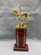 western horse trophy male rider ruby column weighted base