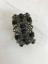 Black Greek Style Braclet With Gold And Black Stones