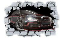 Huge 3D Audi Crashing through wall View Wall Sticker Mural Decal Film 14