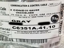 Carol C6351A 20/2C Tinned Copper Control/Communication Cable CM Gray /100ft