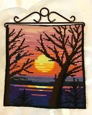 """Needlepoint Embroidery tapestry Sunset Over Wake On Hanger 9.25"""" X 10""""   #012055"""