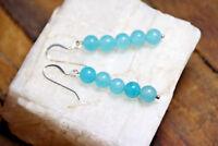 Blue Colored Quartz 6mm Ball Dyed Gemstone Earrings .925 Sterling Silver Hooks