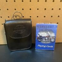 Harley Davidson Leather Carry Case W/ Belt Clip + New Sealed Playing Cards—Gift!