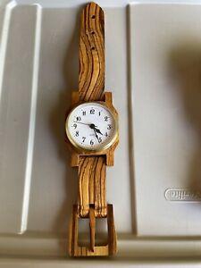 "Wooden Wrist Watch Wall or Desktop Clock 14 3/4"" Quartz Working"