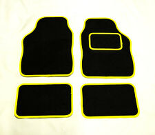 HYUNDAI COUPE UNIVERSAL Car Floor Mats Black Carpet & YELLOW trim