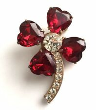 Vintage Brooch Pin Red Clear Rhinestone Four 4 Leaf Clover Silver tone  Lot g