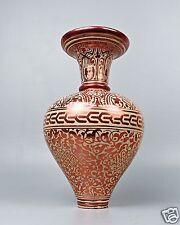 Rare Antique Hispano Moresque Pottery Vase - Copper Lustre Alhambra Form - PT