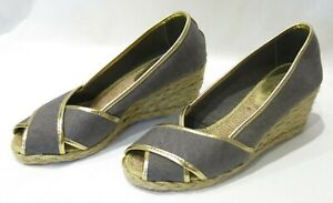 Ralph Lauren Womens Shoes Wedges Cecilia II Espadrille Woven Blue Gold Size 6 B