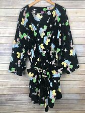 Disney Tinker Bell Womens Plus Size 3x Short Bath Robe Black Belted