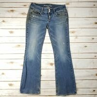 American Eagle Stretch Artist Blue Distressed Denim Bootcut Jeans Womens Size 4