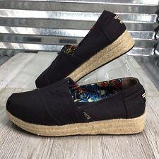 Bobs Skechers Espadrille Platform Memory Foam Black Canvas Comfort Shoe Size 8.5