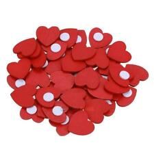 100pcs Wooden Mini Red Heart Sticker DIY Accessories Home Party Wedding Decor