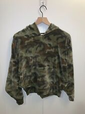 American Eagle Cozy Ever After Hoodie Velour Camo Green Sweatshirt Size Small S