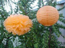 11x mixed orange paper pom poms lanterns wedding birthday anniversary decoration