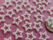 "100! Cute Ivory Cream Pearl Star Embellishments - 11mm/0.4"" - Christmas Stars"