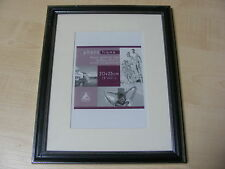 """BLACK & SILVER 8x10 INCH (20x25 CM) MOUNTED (5x7 """") WOOD / WOODEN PHOTO FRAME"""