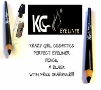 GLITTER EYE LINER PENCIL KRAZY GIRL + FREE SHARPENER BLACK BLUE GREEN *CHOOSE*