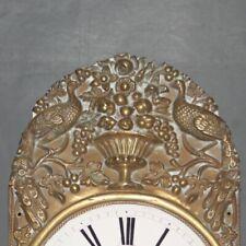 Ancien cadran émaillé et façade en laiton d'horloge Comtoise