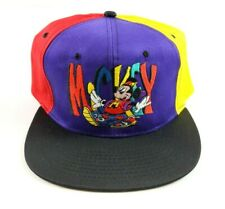 VTG Mickey Unlimited Mickey Mouse Color Block Spell Out Snapback Hat Cap 90S