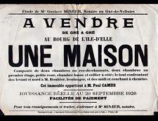 L'ILE D'ELLE (85) AFFICHE / VENTE IMMOBILIERE APPARTEMENT de Paul CAMUS en 1926