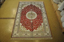6x9 Silk Red Ivory Isfahan Soft And Plush New Handmade Carpet
