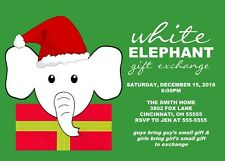 White Elephant Gift Exchange Holiday Christmas Party Invitation