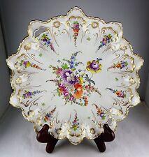 Franziska Hirsch Dresden Gold & Floral Ruffled Serving Bowl Antique Porcelain