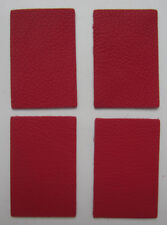 4 MORCEAUX CUIR DE VEAU NAPPA CRISPE NATUREL ROUGE FRAISE  8.50x5.50 cm 1° CHX