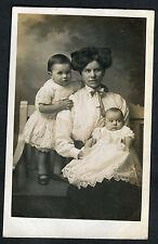 C1920s Portrait Photo: Mother & Two Babies: Jackie & Sidney: Taken in London