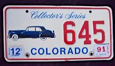 "COLORADO ANTIQUE AUTO  LICENSE PLATE "" 645 "" COLLECTORS SERIES 1941 LINCOLN"