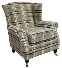 Ashley Fireside High Back Wing Armchair Balmoral Beige Green Check Fabric