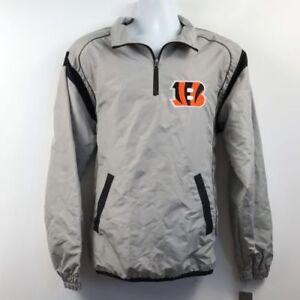NWT NFL Mens Small Cincinnati Bengals 1/4 Zip Windbreaker Jacket Gray Black