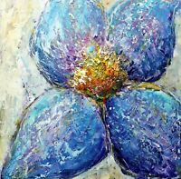 Abstract Blue Flower MORNING DEW Original Oil Painting Impasto Textured Art