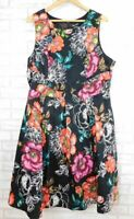 City Chic Fit and flare dress Black, purple, red floral print Sleeveless Sz L 20